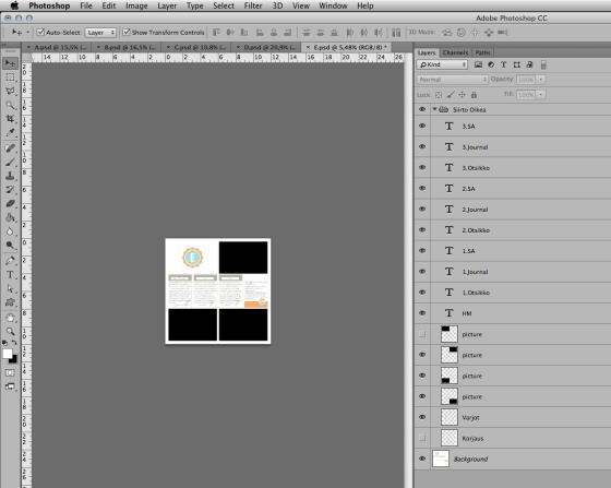 Photoshop CC, LR:ssä luotu jpg Background layerinä ja sen päälle kopioitu/siirrety aikaisemmin luodut varjo/teksti/valokuva tasot.